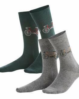 Sokken met Fiets, set van 2, 1 paar groene, 1 paar grijze, gemaakt uit biokatoen