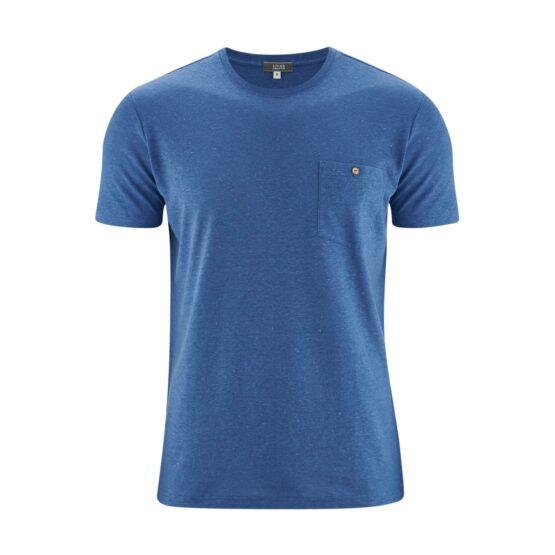 T-shirt - LivingCrafts - Hennep/Biokatoen - Blauw/Kaki - Gordon