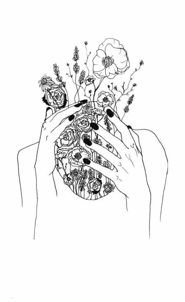 Illustratie van Elles Wilms (hoofd met bloemen als haar dat naar voren gebogen kijkt en vastgehouden wordt door twee handen)