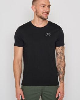 T-shirt organisch katoen greebomb met klein fietsje ter hoogte van de linker borst zwart