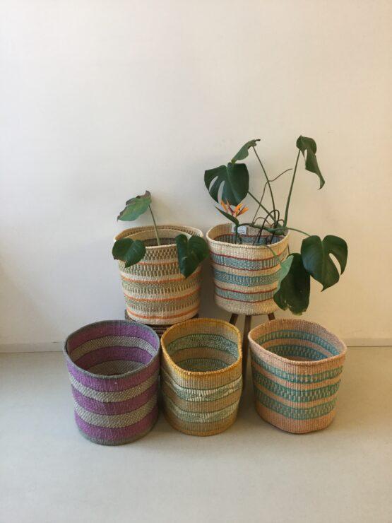 XL Handgeweven mandjes - Hadithi Crafts - Sisal Gras - Multi