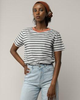 T-shirt - Melawear - Biokatoen - Oranje/Gestreept - Khira