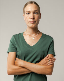 V-hals T-shirt - Melawear - Biokatoen - Flesgroen - Pria