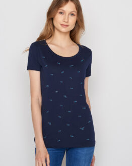 T-Shirt - Greenbomb - Biokatoen - Donkerblauw + Vissen print