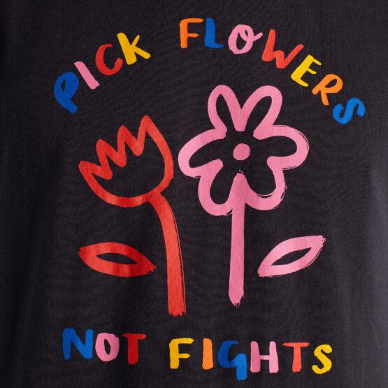 T-Shirt - Dedicated - Biokatoen - Flowers not Fights - Stockholm