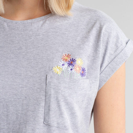 T-shirt - Dedicated - Biokatoen - Bloemenzakje Grijs- Visby