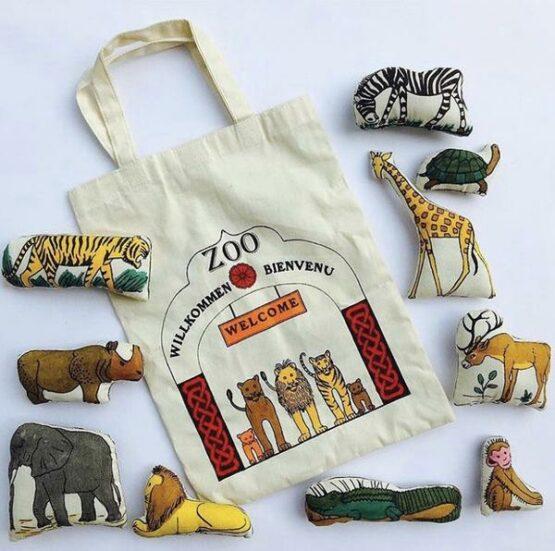 Speelgoed Zoo - House of India - Handgemaakt - 10 dieren - katoen