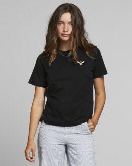 T-Shirt - Dedicated - Biokatoen - Bijtje - Zwart - Mysen