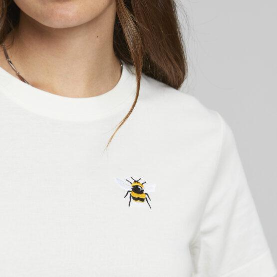 T-Shirt - Dedicated - Biokatoen - Bijtje - Wit - Mysen
