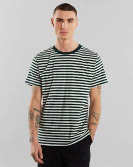 T-Shirt - Dedicated - Biokatoen - Streepjes Groen Wit - Stockholm